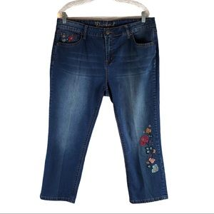 New Directions Plus Size Floral Embroidered Jeans